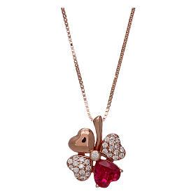 Pingentes, Cruzes, Broches, Correntes: Colar em prata 925 rosé AMEN com pingente trevo zircão vermelho