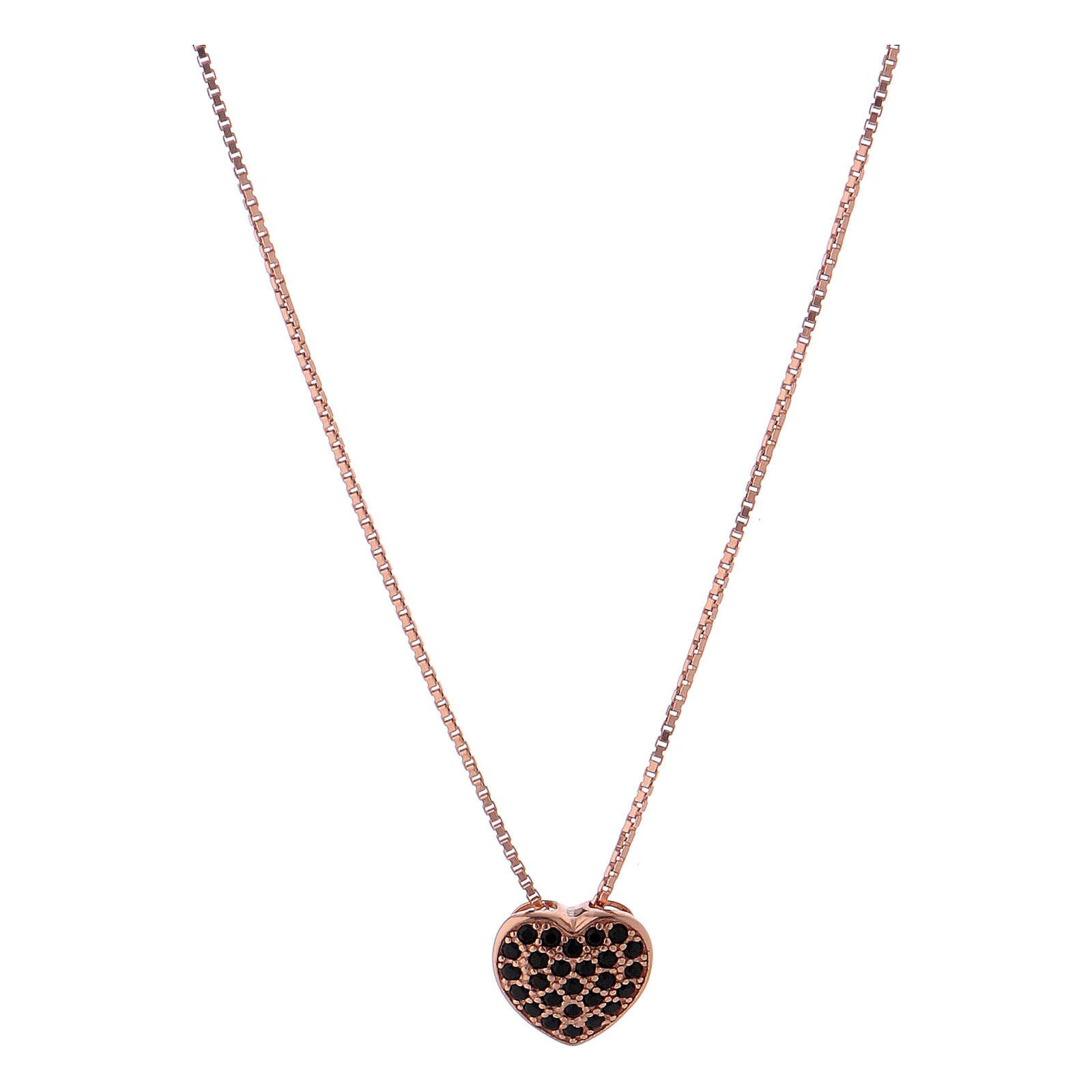 Collar rosado colgante corazón con zircones negros AMEN plata 925 4