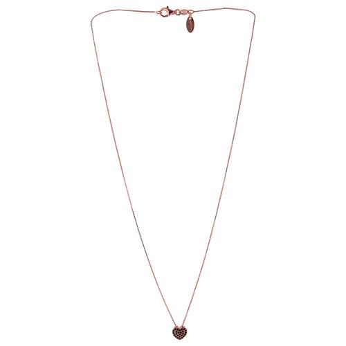 Collar rosado colgante corazón con zircones negros AMEN plata 925 2
