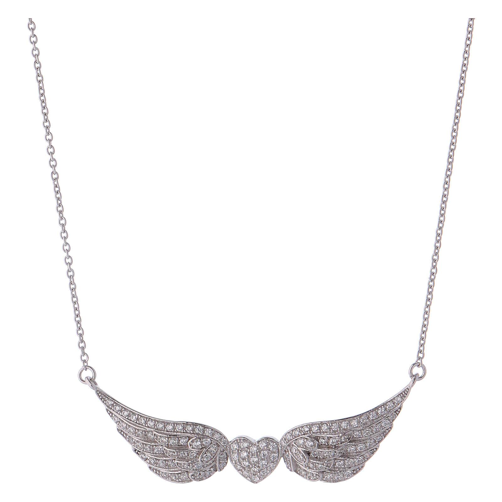 Collana AMEN cuore con ali argento 925 4