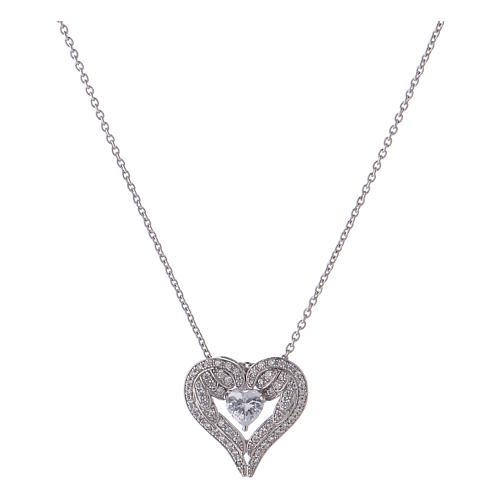 Collana ciondolo ali a forma di cuore argento 925 AMEN 1