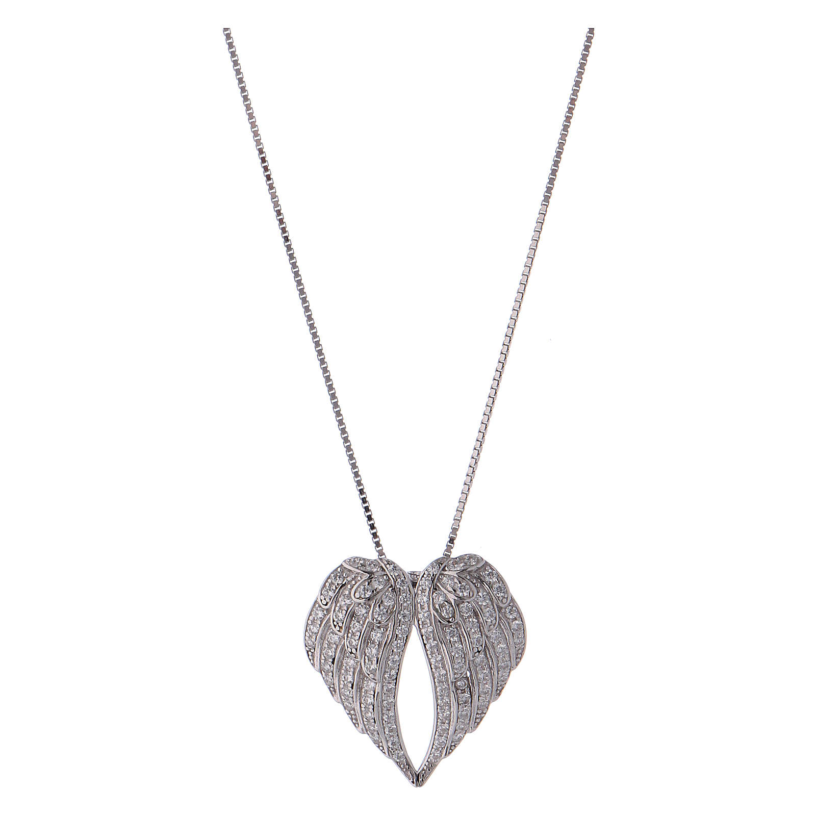 Collana in argento 925 ali con zirconi AMEN 4