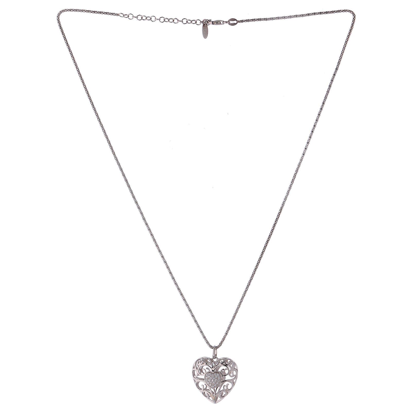 Collana ciondolo a cuore con cuore di zirconi argento 925 AMEN  4