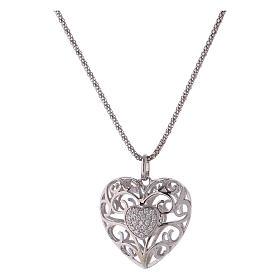 Collana ciondolo a cuore con cuore di zirconi argento 925 AMEN  s1