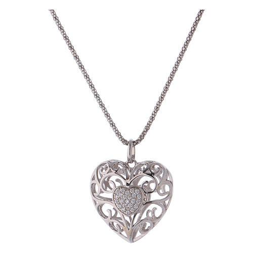 Collana ciondolo a cuore con cuore di zirconi argento 925 AMEN  1