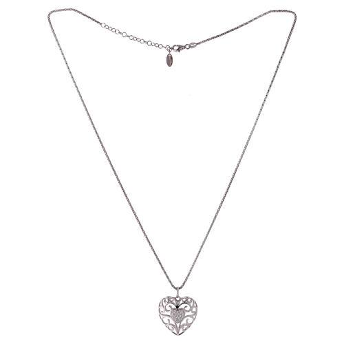 Collana ciondolo a cuore con cuore di zirconi argento 925 AMEN  2
