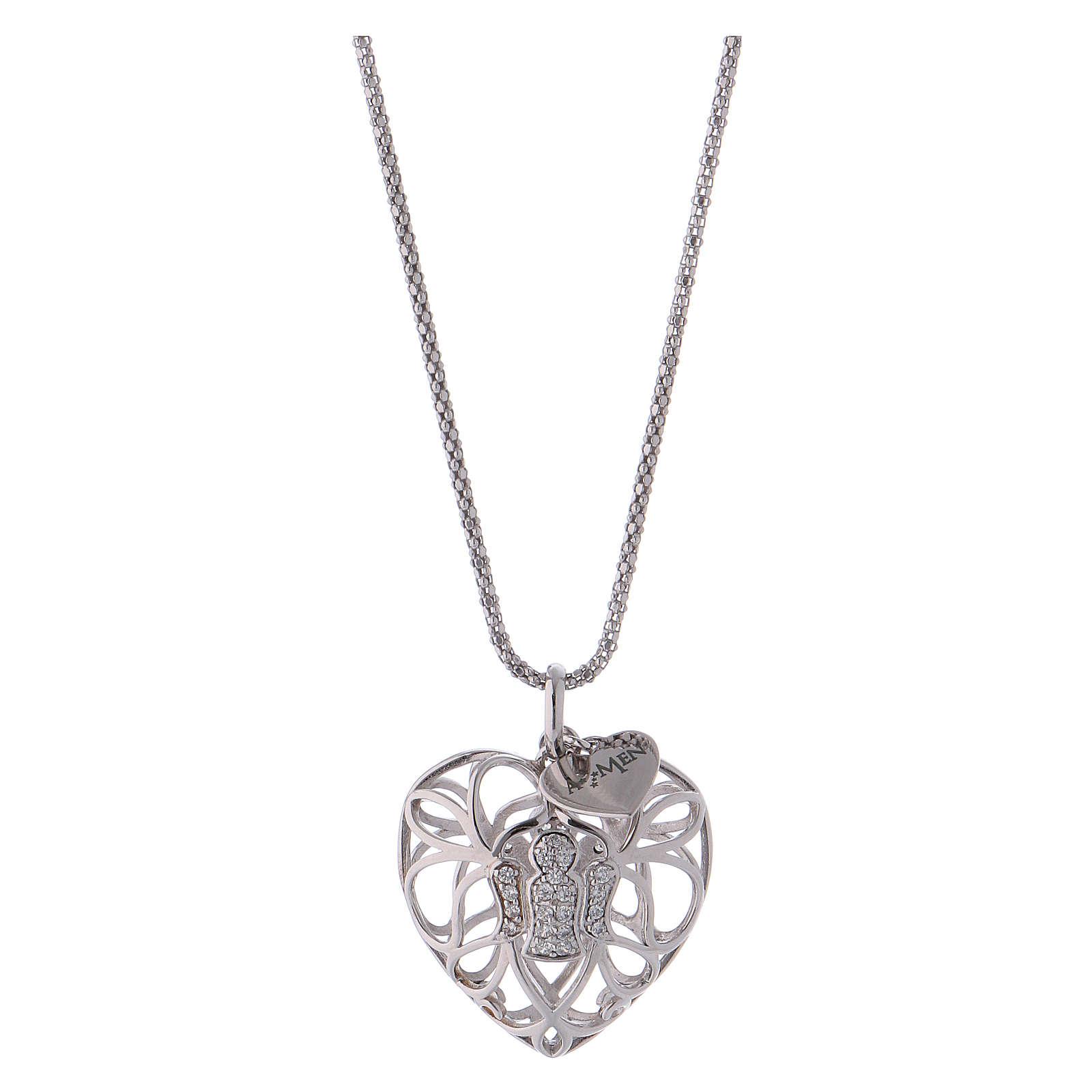 Collana argento 925 AMEN ciondolo a cuore con angelo di zirconi 4