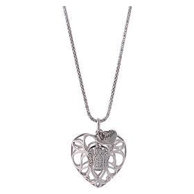 Collana argento 925 AMEN ciondolo a cuore con angelo di zirconi s1