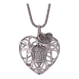 Collana argento 925 AMEN ciondolo a cuore con angelo di zirconi s3