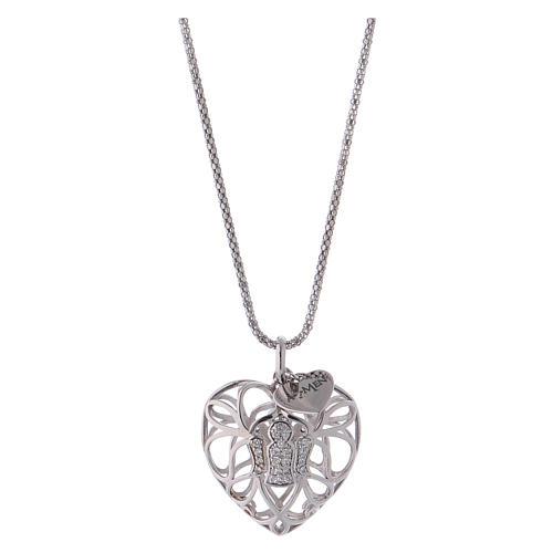 Collana argento 925 AMEN ciondolo a cuore con angelo di zirconi 1