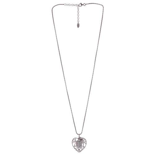 Collana argento 925 AMEN ciondolo a cuore con angelo di zirconi 2