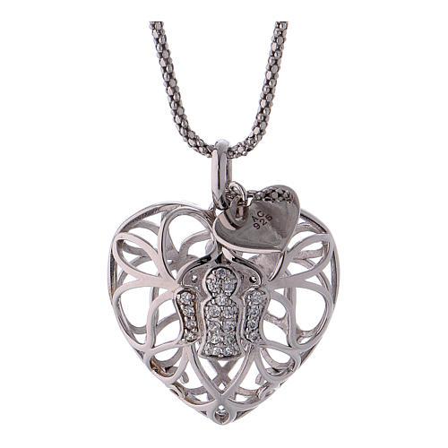 Collana argento 925 AMEN ciondolo a cuore con angelo di zirconi 3