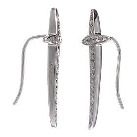Orecchini croce AMEN argento 925 e zirconi s2