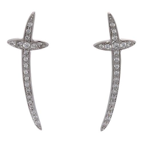 Orecchini croce AMEN argento 925 e zirconi 1
