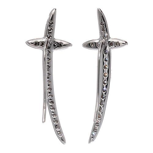 Orecchini croce AMEN argento 925 e zirconi 3