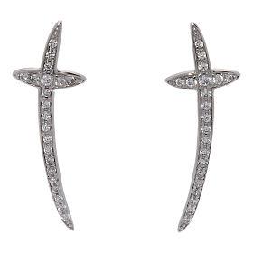 Pingentes, Cruzes, Broches, Correntes: Brincos cruz AMEN prata 925 e zircões