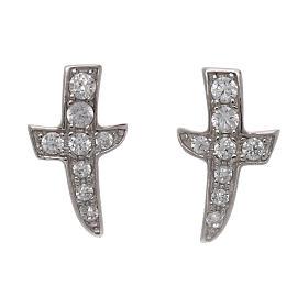 Pingentes, Cruzes, Broches, Correntes: Brincos de pino AMEN cruz com zircões prata 925
