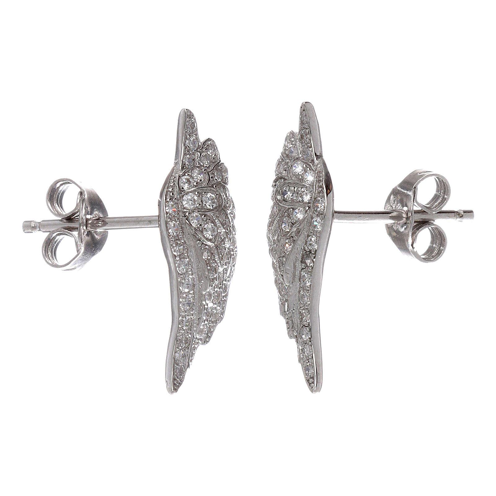 Orecchini lobo AMEN ali in argento 925 con zirconi 4