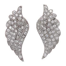 Pingentes, Cruzes, Broches, Correntes: Brincos de pino AMEN asas em prata 925 com zircões