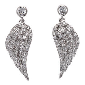 Pingentes, Cruzes, Broches, Correntes: Brincos de pêndulos forma asas em prata 925 com zircões AMEN