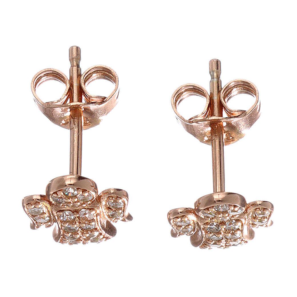 Orecchini angelo con zirconi bianchi argento 925 AMEN rosato 4