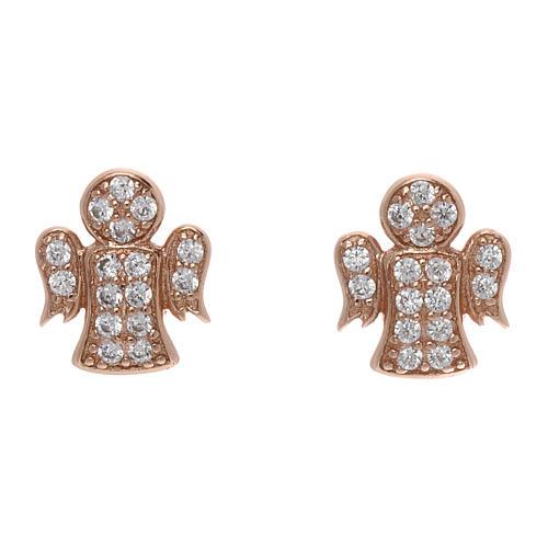 Orecchini angelo con zirconi bianchi argento 925 AMEN rosato 1