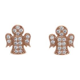 Pingentes, Cruzes, Broches, Correntes: Brincos anjo com zircões brancos prata 925 AMEN rosé