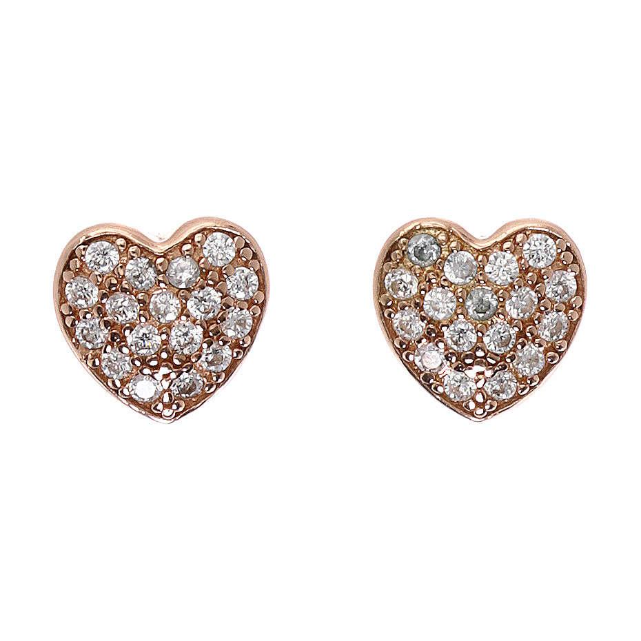 Orecchini cuore in argento 925 rosato e zirconi bianchi 4