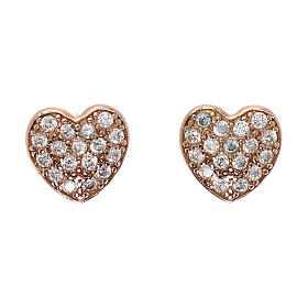 Orecchini cuore in argento 925 rosato e zirconi bianchi s1