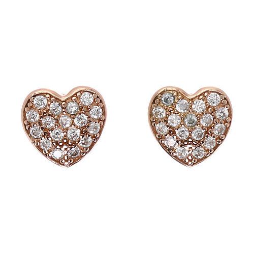 Orecchini cuore in argento 925 rosato e zirconi bianchi 1