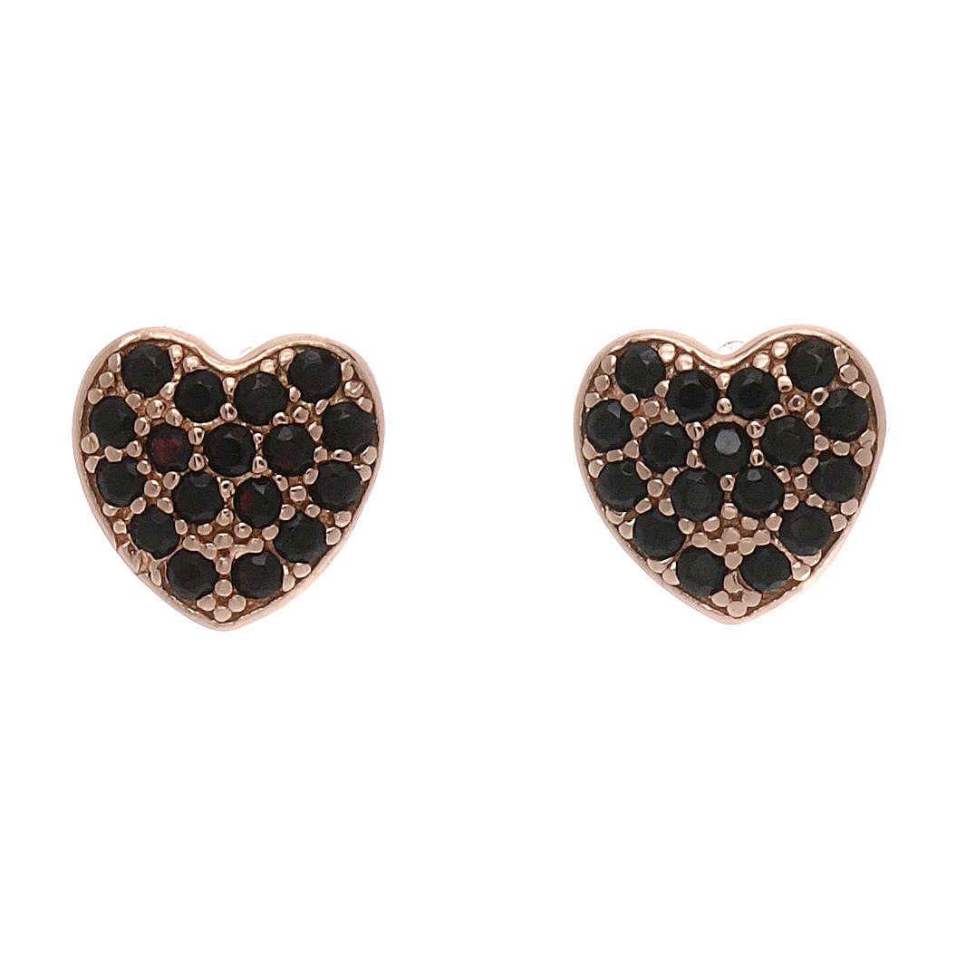 Orecchini a lobo AMEN a forma di cuore argento 925 e zirconi neri 4