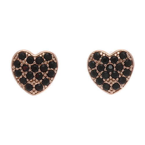 Orecchini a lobo AMEN a forma di cuore argento 925 e zirconi neri 1