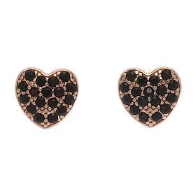 Pingentes, Cruzes, Broches, Correntes: Brincos de pino AMEN em forma de coração prata 925 e zircões pretos