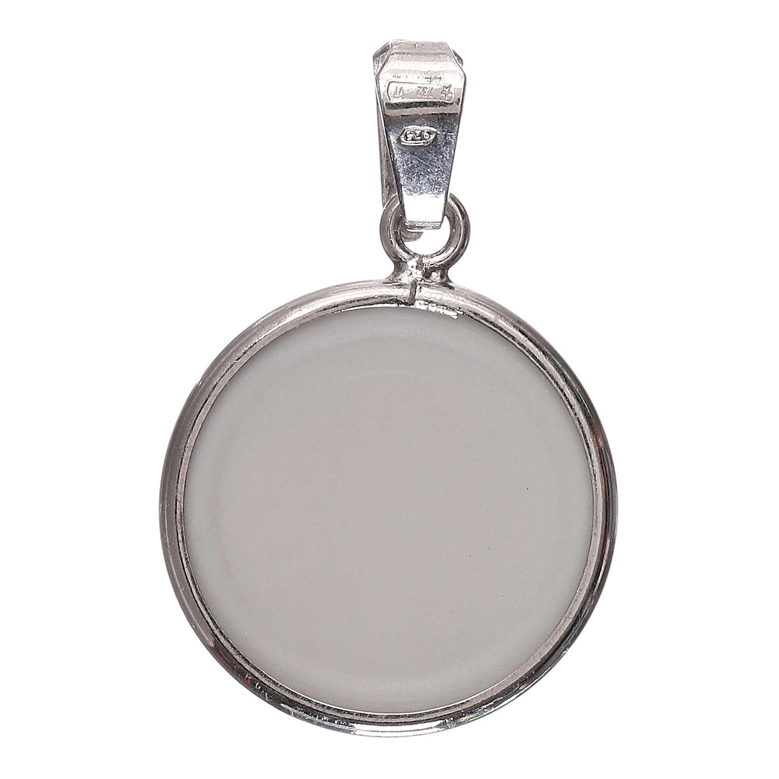 Medaglia tonda porcellana/argento 925 angelo cm 1,8 4