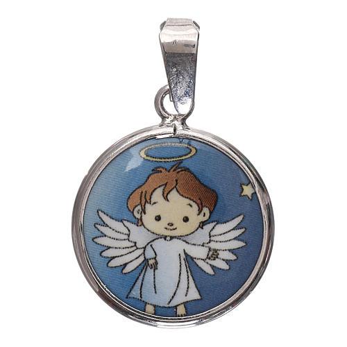 Medaglia tonda porcellana/argento 925 angelo cm 1,8 1