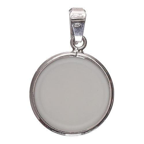 Medaglia tonda porcellana/argento 925 angelo cm 1,8 2