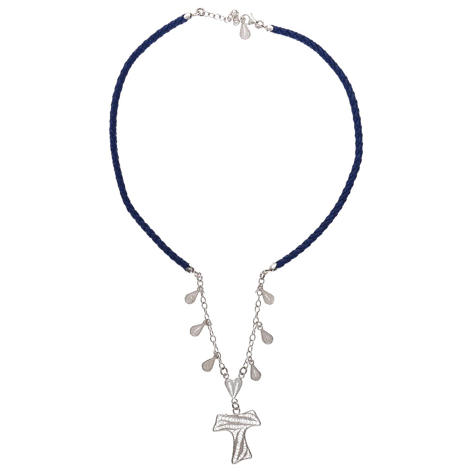 Girocollo ecopelle blu con tau filigrana argento 925 4