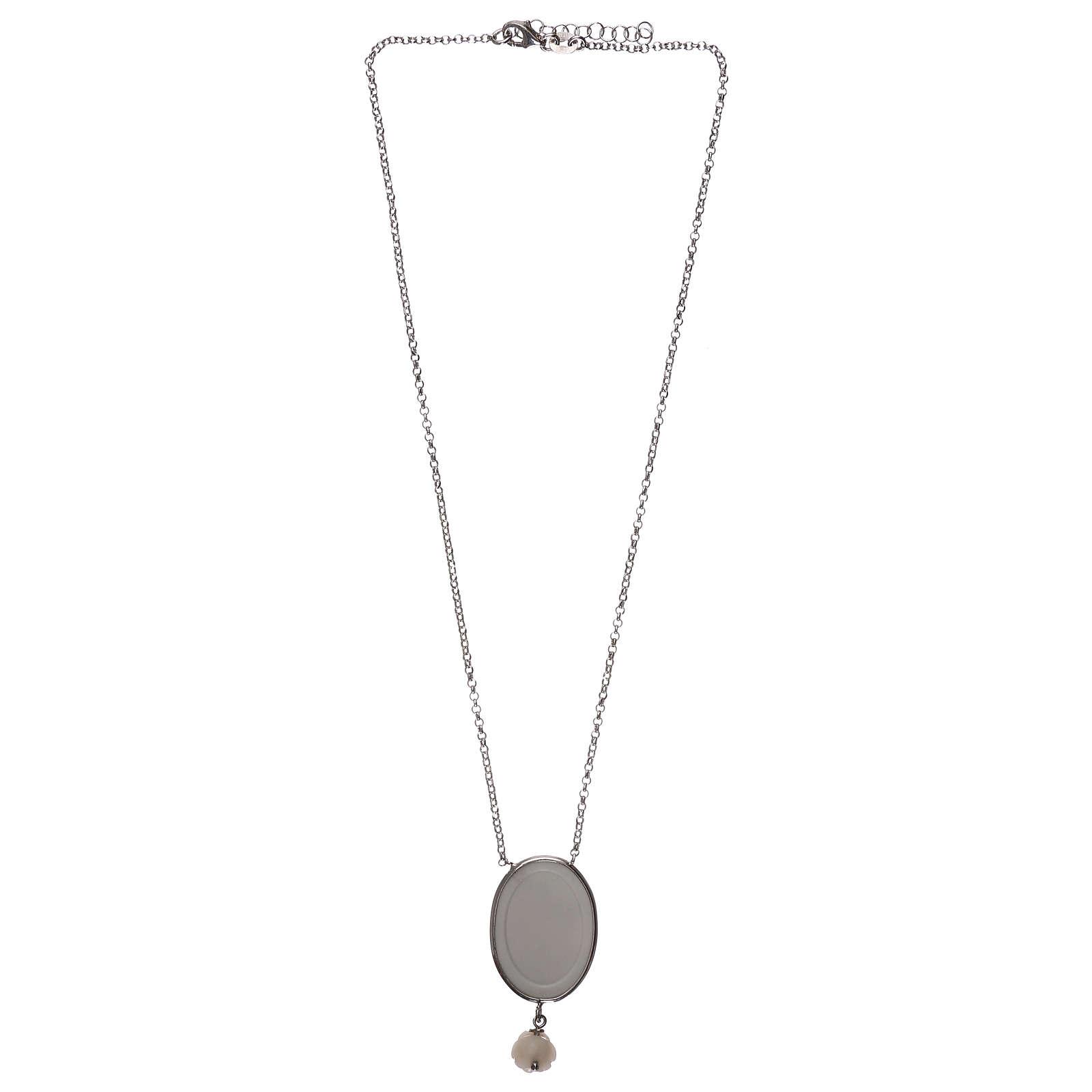 Collier argent 925 avec médaille ange et rose 4