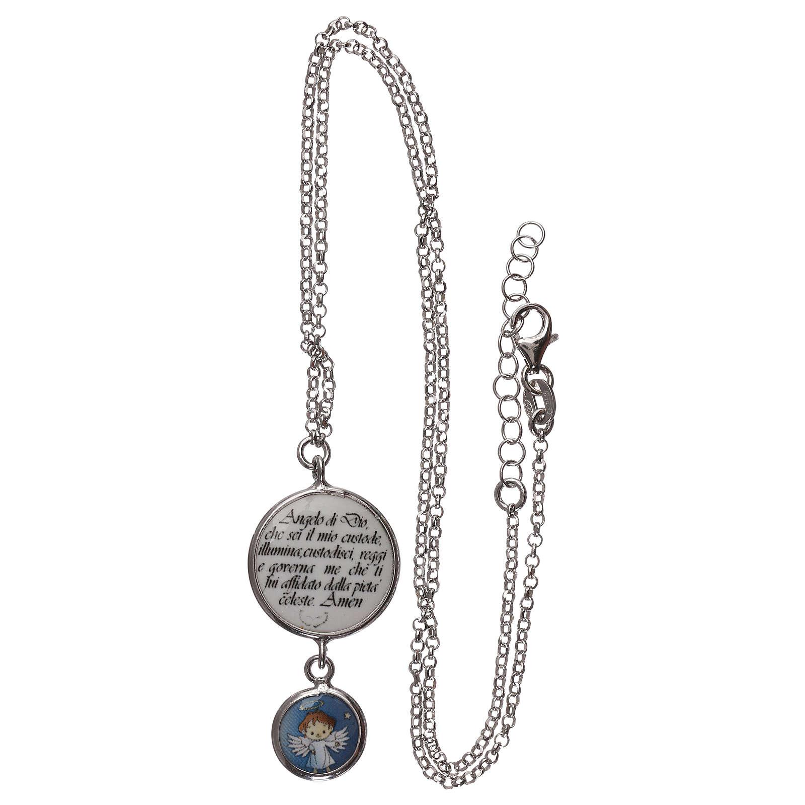 Collier argent 925 médaille ange et prière ITA 4