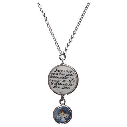 Collier argent 925 médaille ange et prière ITA 1