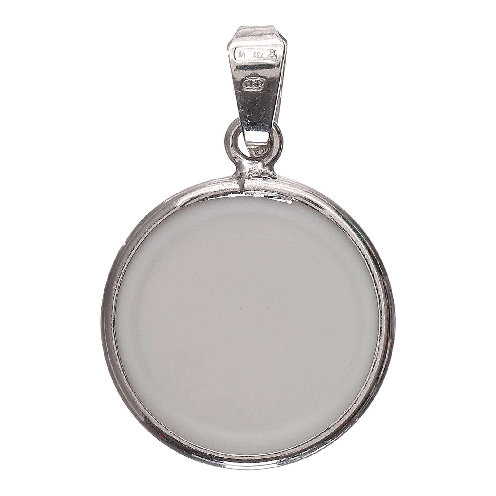Medaglia tonda porcellana/argento 925 luna/stelle 1,8 cm 4