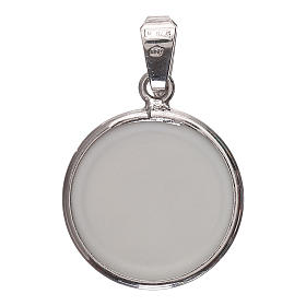 Medaglia tonda porcellana/argento 925 luna/stelle 1,8 cm s2