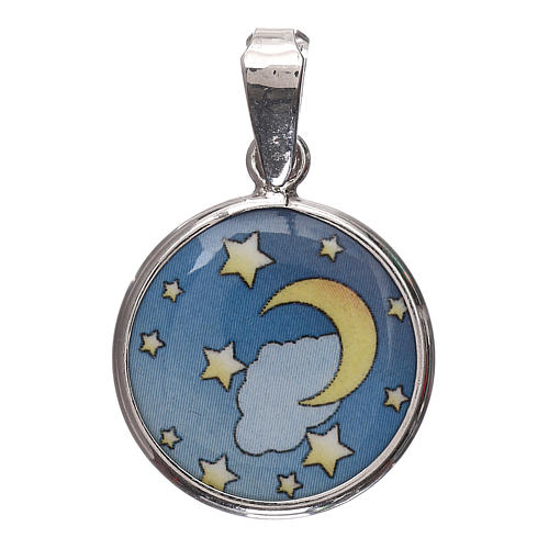 Medaglia tonda porcellana/argento 925 luna/stelle 1,8 cm 1