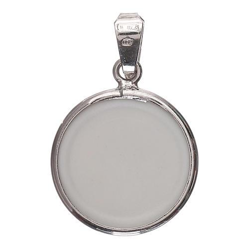 Medaglia tonda porcellana/argento 925 luna/stelle 1,8 cm 2