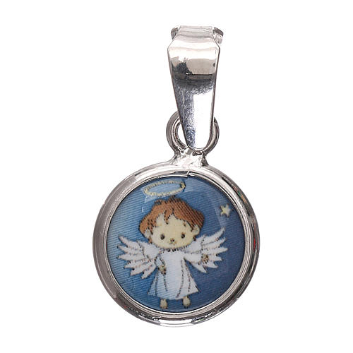 Medalla redonda porcelana/plata 925 ángel 1 cm 1