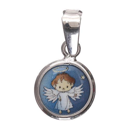 Médaille ronde porcelaine et argent 925 ange 1 cm 1