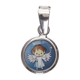 Medaglia tonda porcellana/argento 925 angelo 1 cm s1