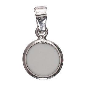 Medaglia tonda porcellana/argento 925 angelo 1 cm s3