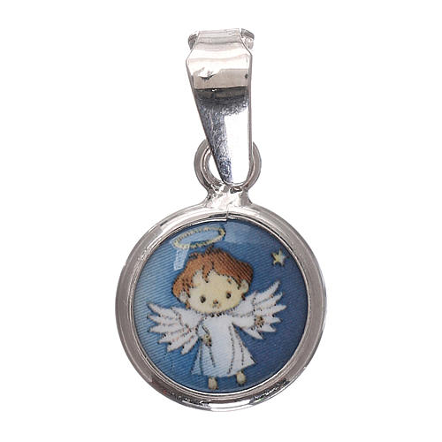 Medaglia tonda porcellana/argento 925 angelo 1 cm 2