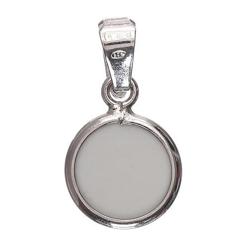 Medaglia tonda porcellana/argento 925 angelo 1 cm 3